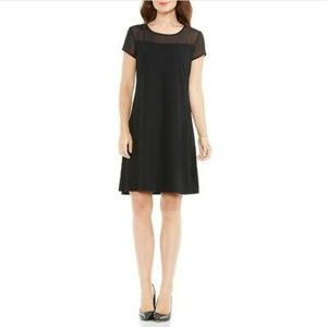 Vince Camuto Sheer Yoke Dress in Rich Black
